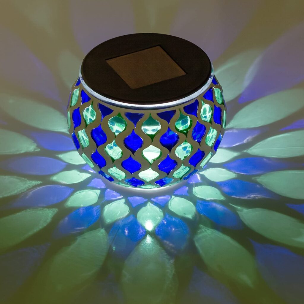 Dawhud Direct Solar Powered Mosaic Glass LED Decorative Table Light