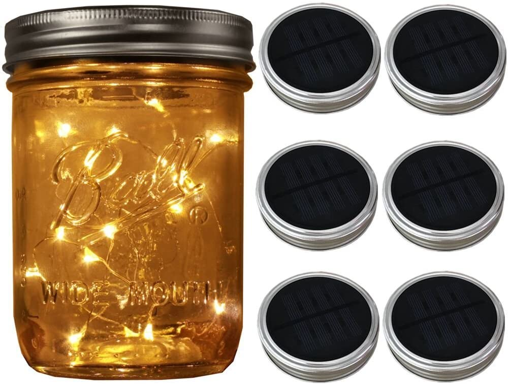 6-Pack Wide Mouth Solar-powered Mason Jar Lights