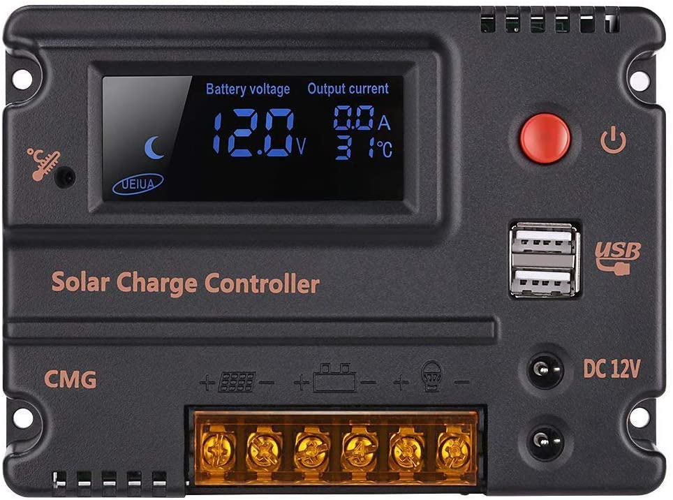 GHB 20 Amps 12V 24V Solar Charge Controller Auto Switch LCD Intelligent Panel Battery Regulator Charge Controller Overload Protection Temperature Compensation