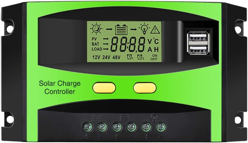 MOHOO Solar Charge Controller, 30 Amps Solar Charger Controller, 12V/24V Solar Panel Intelligent Regulator with Dual USB Port and PWM LCD Display (Upgraded)
