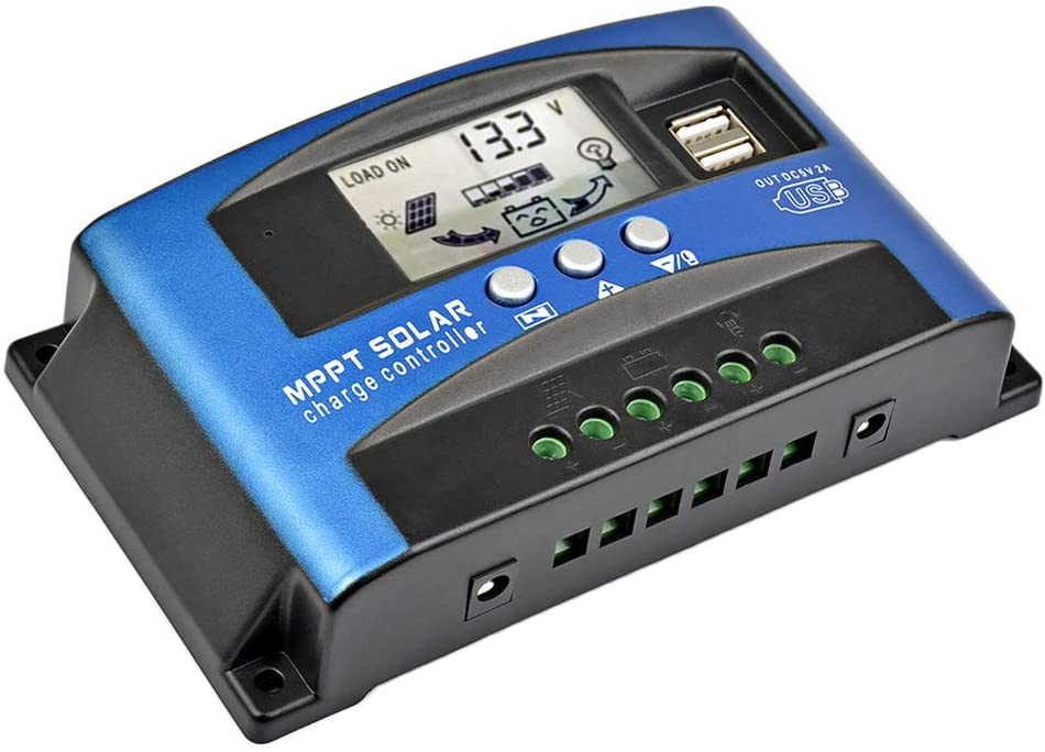 AOSHIKE 60 amps MCU Solar Charge Controller with LCD Display, New MPPT Technical Maximum Charging Current Multiple Load Control Modes (60 amps)