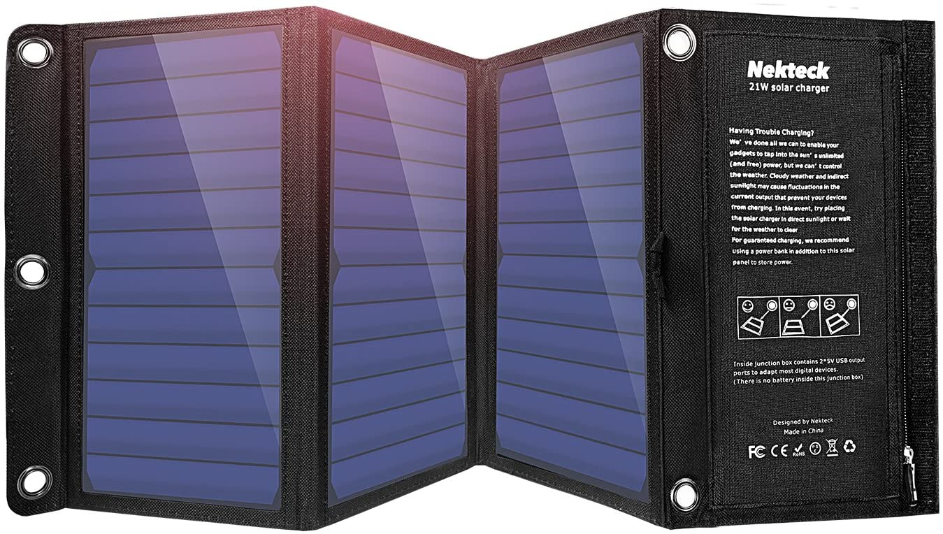 Nekteck 21W Solar Charger, Waterproof and Portable