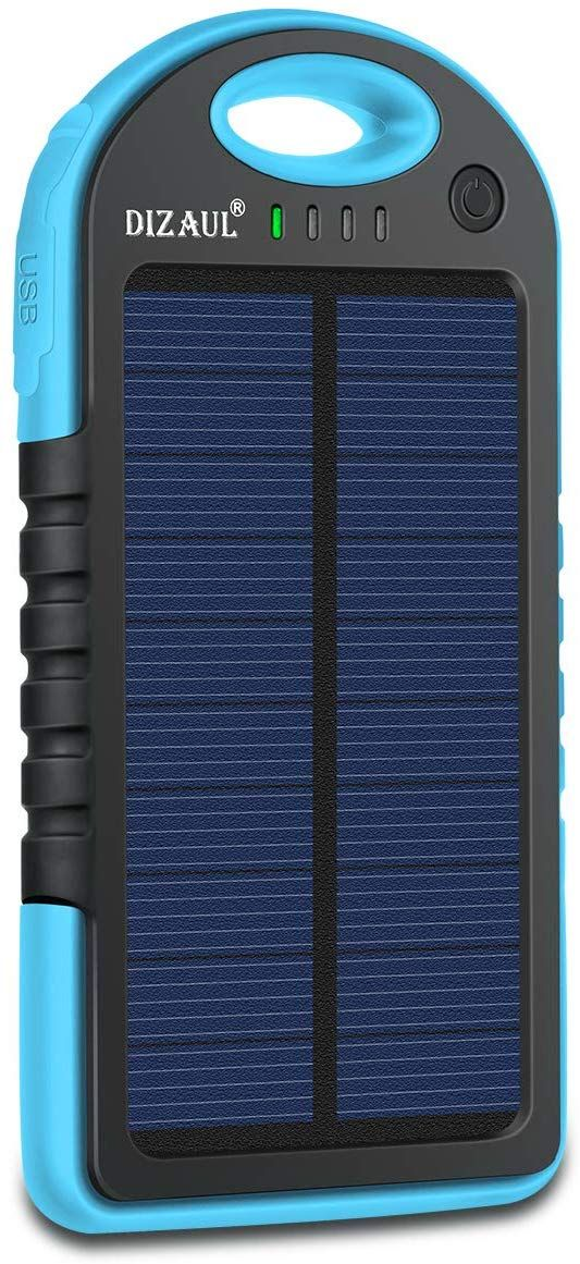 Dizaul Solar Charger with 5000mAh Battery, Power bank